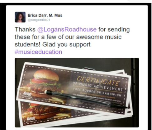 A shout-out to Logan's Roadhouse for supporting music education, students, and teachers. http://www.twitter.com/songbird0401